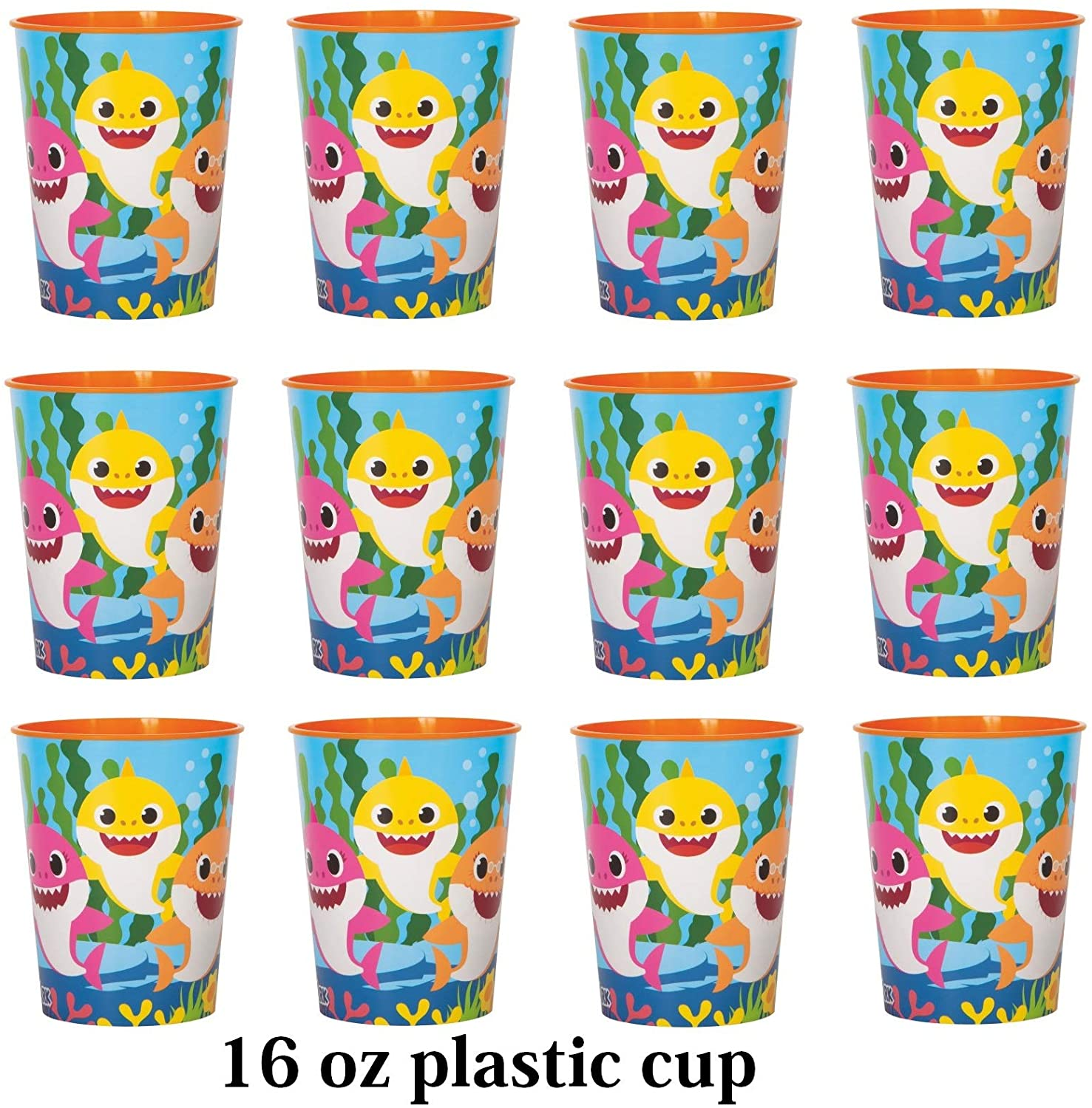 Four-seasonstore Lot of 12 Baby Shark 16oz Party Plastic Cup ~Party Favor Supplies~ Licensed Product