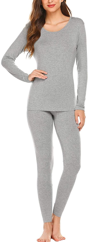 Ekouaer Plus Women's Scoop Neck Long Johns Ultra Thin Thermal Underwear Set