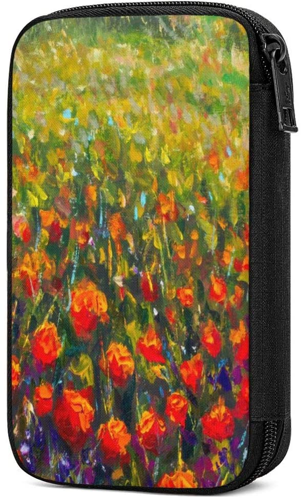 Travel Cable Organizer Bag Oil Painting Poppy Field Red Flowers Electronics Accessories Pouch Bag Carrying Case Protective Bank Pouch Storage Bag for Hard Drives,Cable,Charger,Phone,USB,SD Card