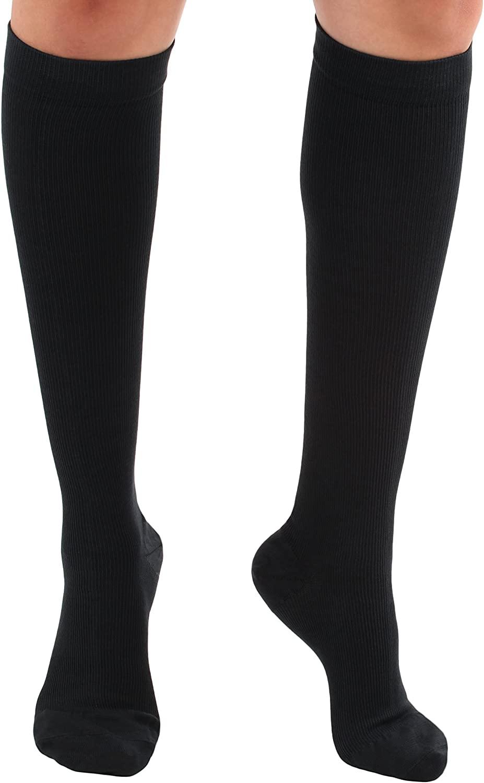 Travel Cotton Compression Socks - Plus Size Graduated Compression Firm Support 20-30mmHg - Closed Toe, Unisex - (XXX-Large, Black)
