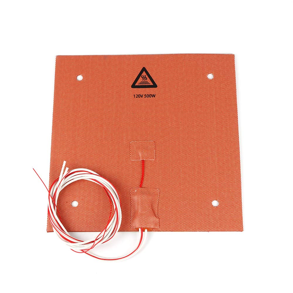 BCZAMD 235 X 235mm 120V 500W Silicone Rubber Heater Mat/Pad with NTC 100K Thermistor 3M Adhesive for 3D Printer Parts