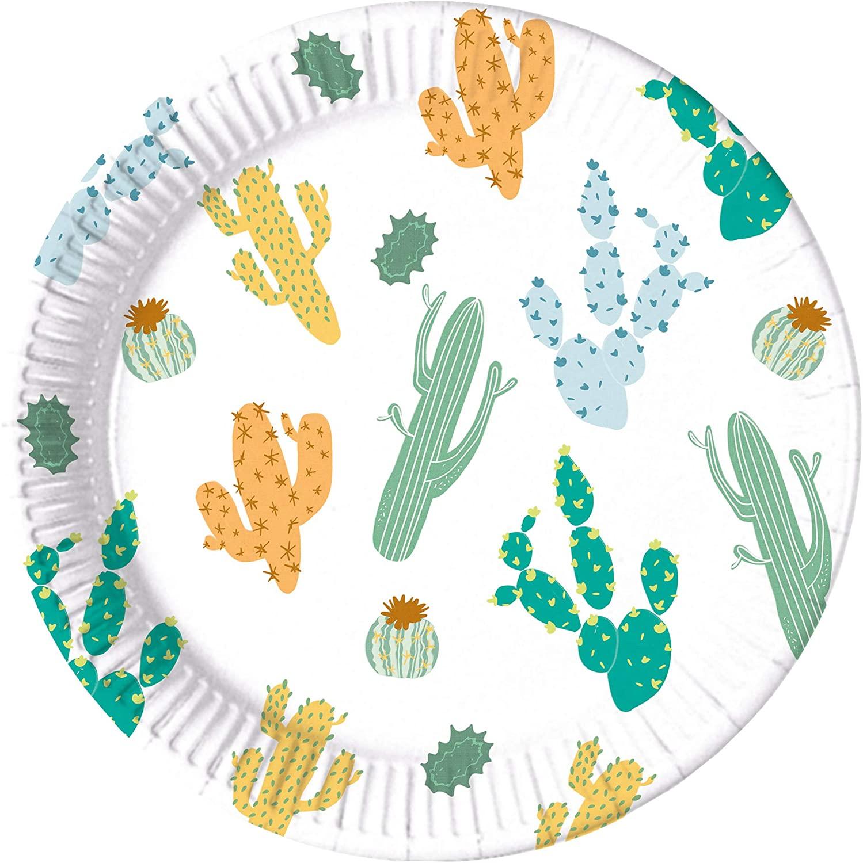 Procos 10201149 Plates Paper Compostable Cactus, White