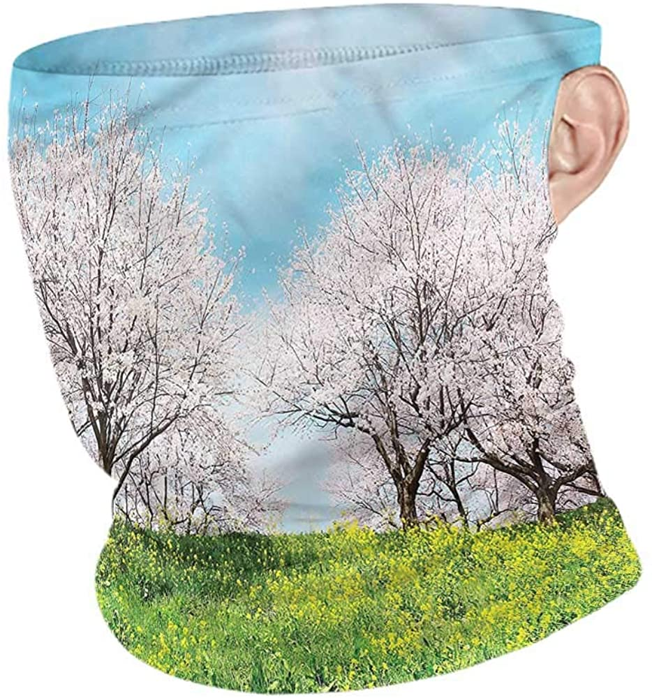 Face Cover Floral,Japanese Spring Flowers Creative Personality Custom Scarf