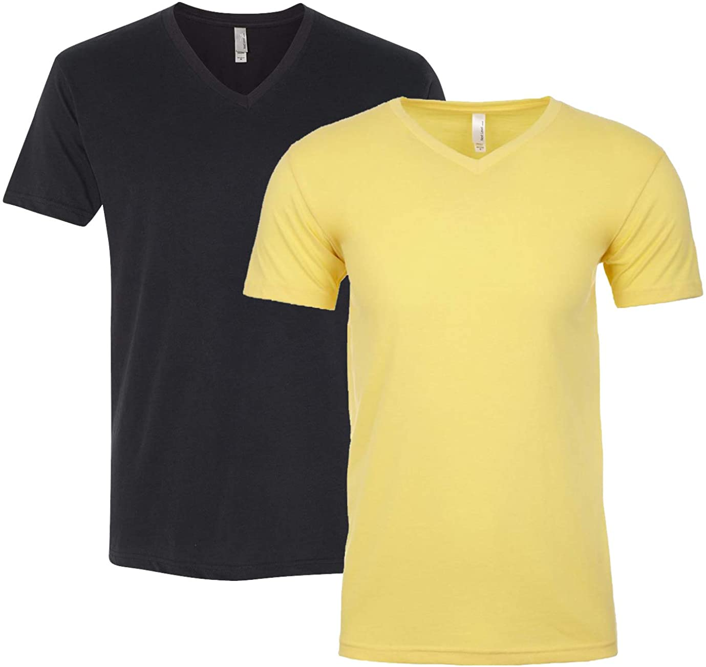 Next Level Apparel 6440 Mens Premium Fitted Suided V-Neck, Black + Banana Cream (2 Shirts)-XX-Large