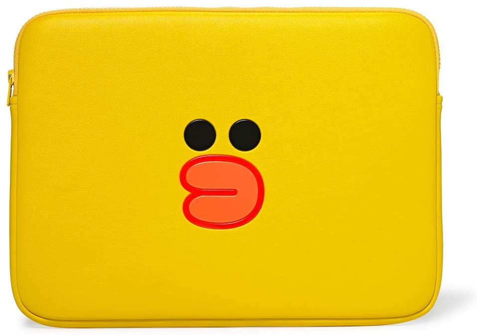 LINE FRIENDS Faux Leather Laptop Sleeve - Sally Character Case Cover 13 Inches, Yellow