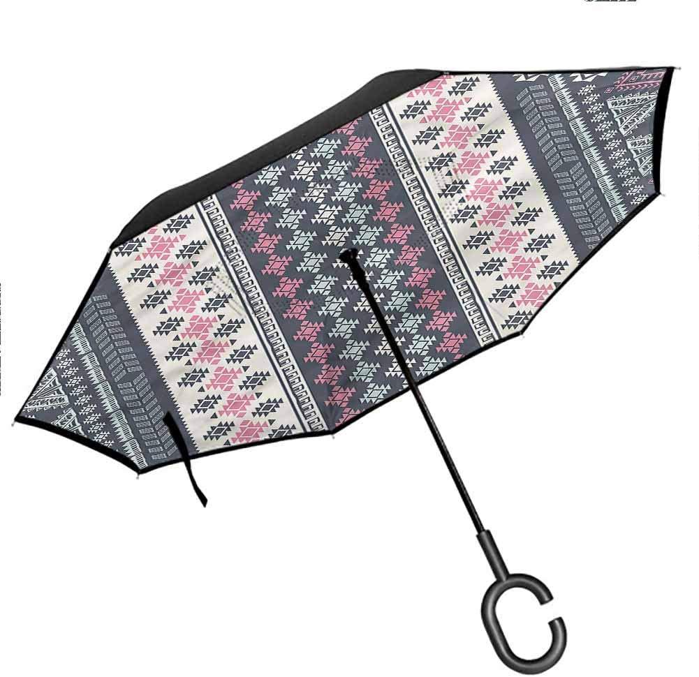 Kgblfd Tribal Reverse Folding Inverted Umbrella, Hand-Drawn Geometric Pattern Anti-UV Windproof Straight Umbrella, 42.5