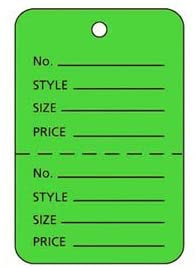 3000 per carton, Small Unstrung Palm Tree Green Perforated Coupon Price Tags