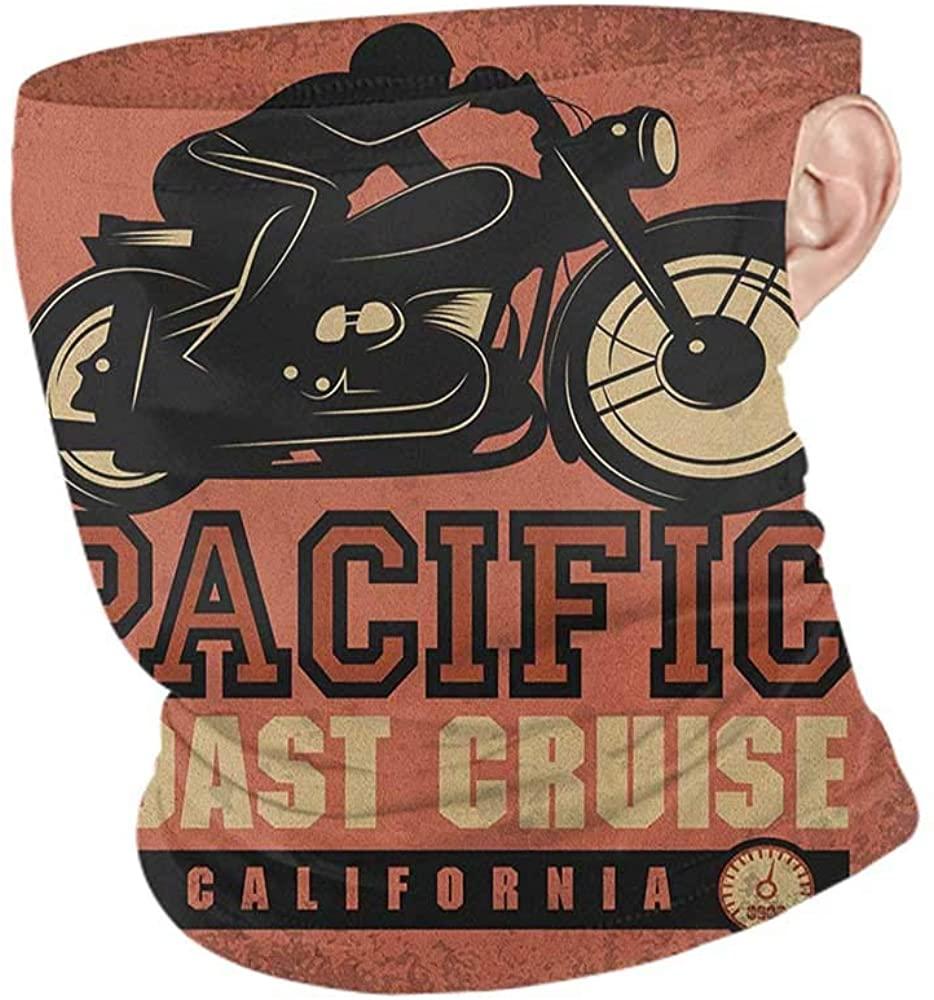 Headwrap Summer Adventure Pacific Coast Cruise California Motorcycle Driving Journey Traveling Hand Drawn,Sunscreen Bandana Ruby Black 10 x 12 Inch
