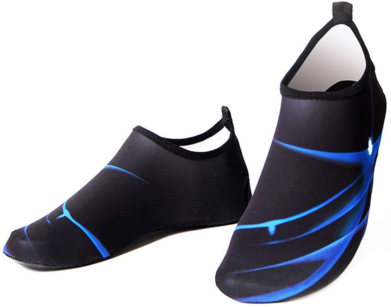 Bestgift Men's Women's Quick-Dry Non-Slip Swimming Beach Shoes Black+Blue 38-39