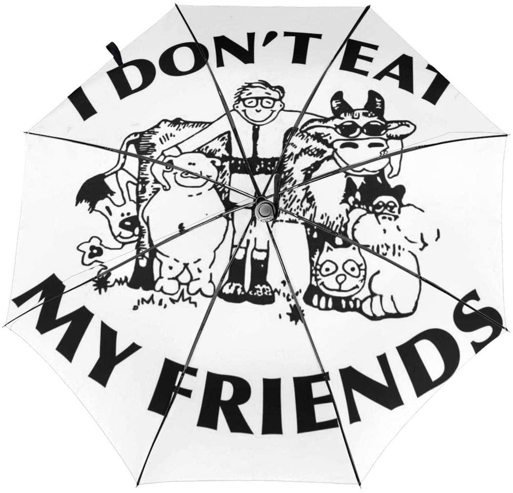 CHAN03 I Don't Eat My Friends Automatic Tri-fold Sunscreen Umbrellas Folding Umbrella