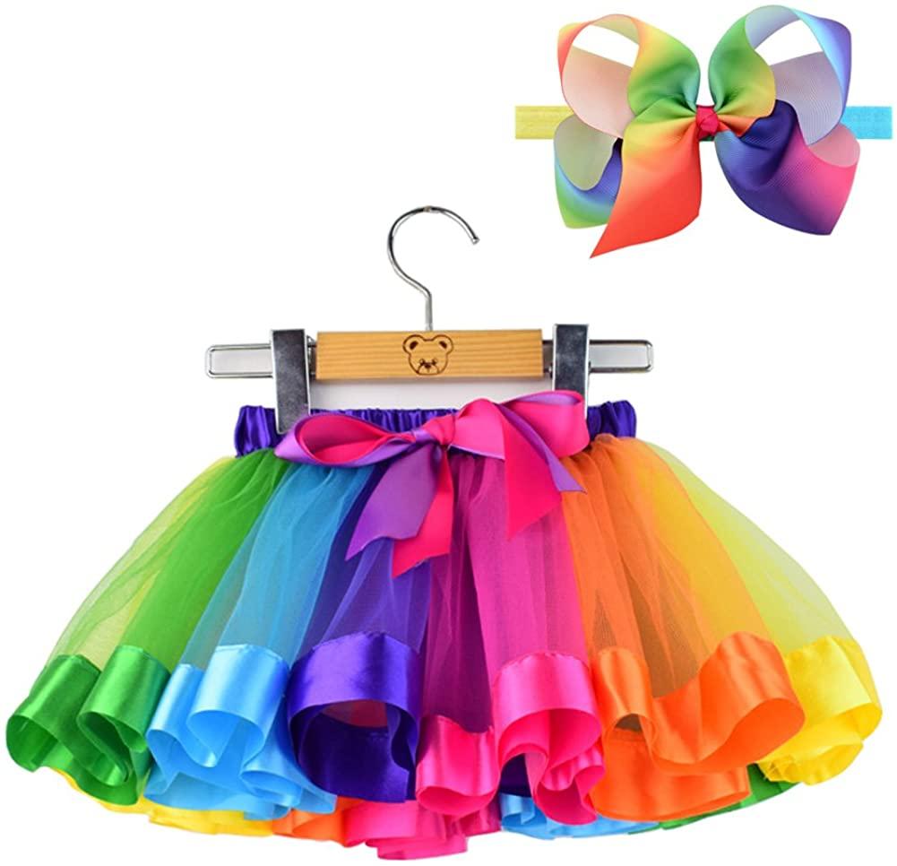 BGFKS LayeredTulle Rainbow Tutu Skirt for Newborn Baby Girls 1st Birthday Photography Outfit Sets.