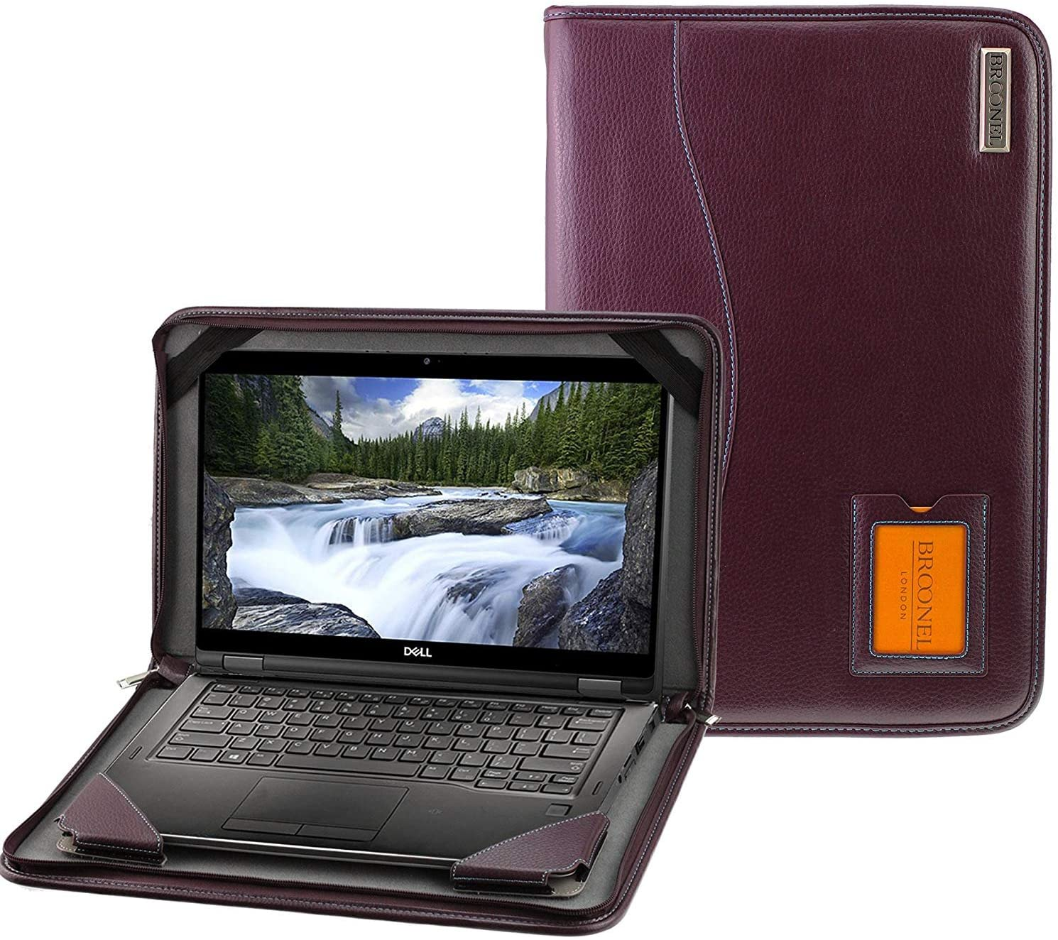 Broonel - Contour Series - Purple Heavy Duty Leather Protective Case Cover Compatible with The Dell Latitiude 7400