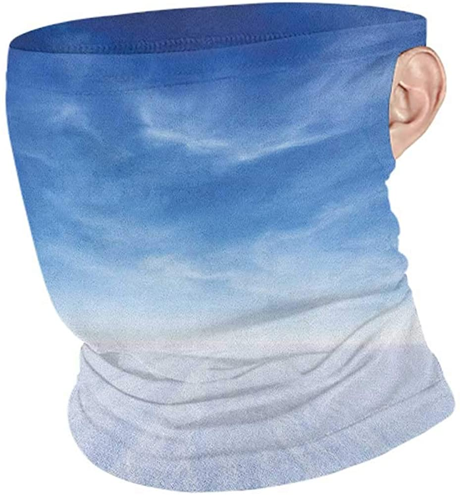 Face Cover Summer Sky Snowy Mountain with Open Weather Environment Nature Photography Idyllic Themes Print,Headband Neck Gaiter Blue White 10 x 12 Inch
