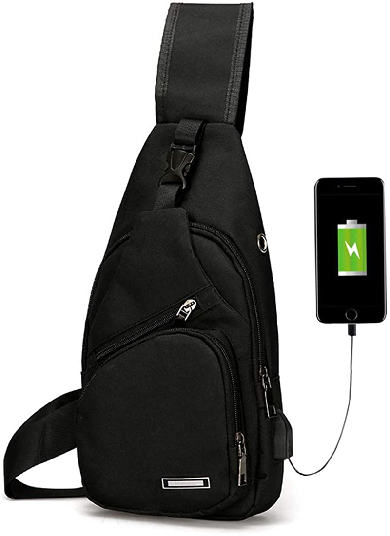Men's Women's Sling Chest Shoulder Bag Outdoor Travel Crossbody Backpack with USB Charging Port