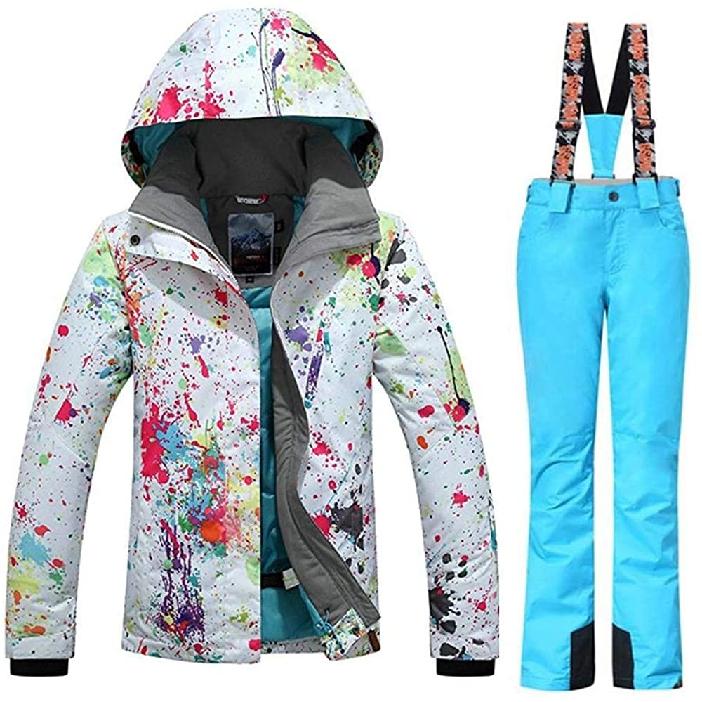 Womens Fashion High Windproof Waterproof Snowsuit Colorful Printed Ski Jacket Pants