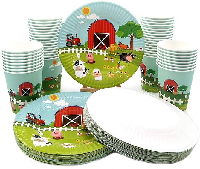 48 Piece Farm Animal Pig Cow Theme Disposable Paper Plate, Cup Set, Including 24 Dessert Plate, 24 Cup, Kids Birthday Baby Shower Party Plates Set, Tableware Dinnerware Set, Serves 24