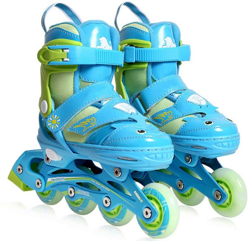 Skates Full Set of Professional Roller for Children, 3-10 Years Old Male and Female Beginners Inline, Triple Safety Settings, Four Adjustable Shoe Sizes,Blue-M(28-31)