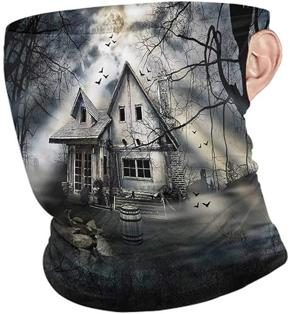 VIVIOTendance Face Cover Halloween,Haunted House Dark Horror Motorcycle Face Bandana