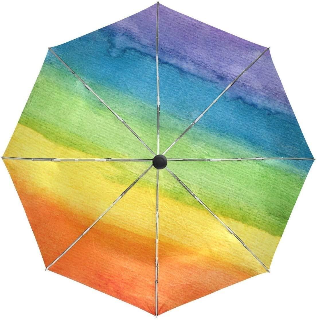 ASDF Automatic Umbrellas Watercolor Rainbow Stripe Paint Anti-Slip Windproof Compact Rain Umbrella for Women Men