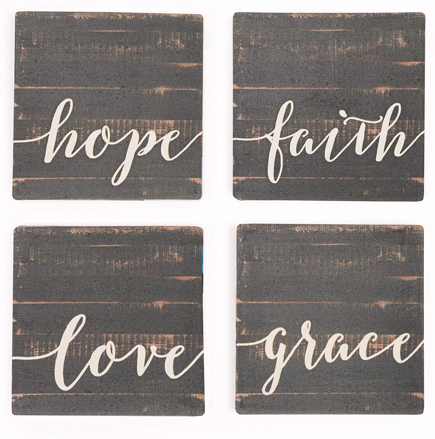Love Faith Grace Hope Distressed Wood Look 4 x 4 Absorbent Ceramic Coasters Set of 4