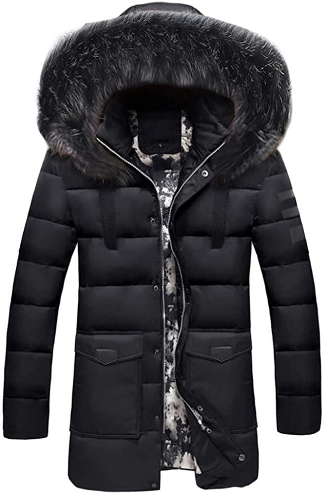 TAGGMY Jacket Men Fashion Winter Warm Plus Size Black Medium Length Zipper Thickened Hat Removable Cotton Outwear Coat 3XL