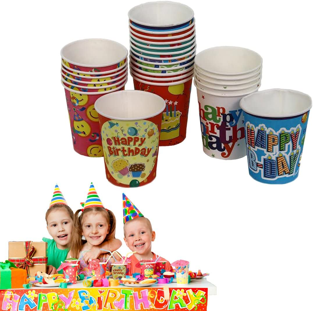 25 Pack Birthday Party Cups | Combination of Designs & Colors| Hot Or Cold 8 oz Disposable Cups | By Dazzling Toys