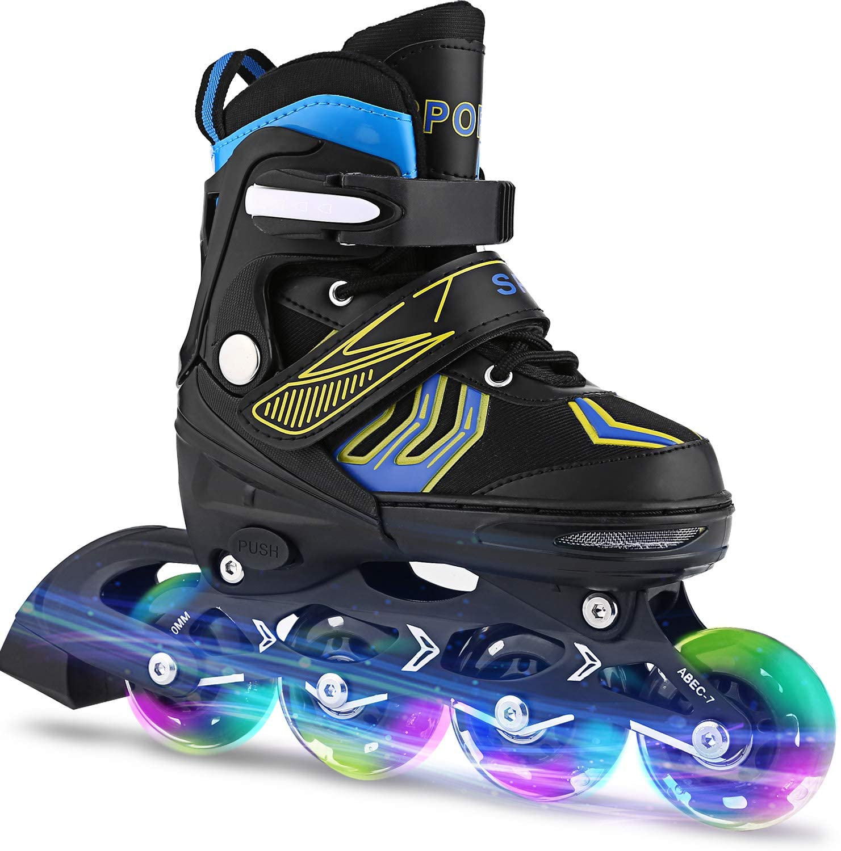 ANCHEER Inline Skates Adjustable Women Men Kids Roller Skates for Girls Boys Size 12-8 Aggressive Urban Toddler Skating (Blue Whirlwind, US 5-8)