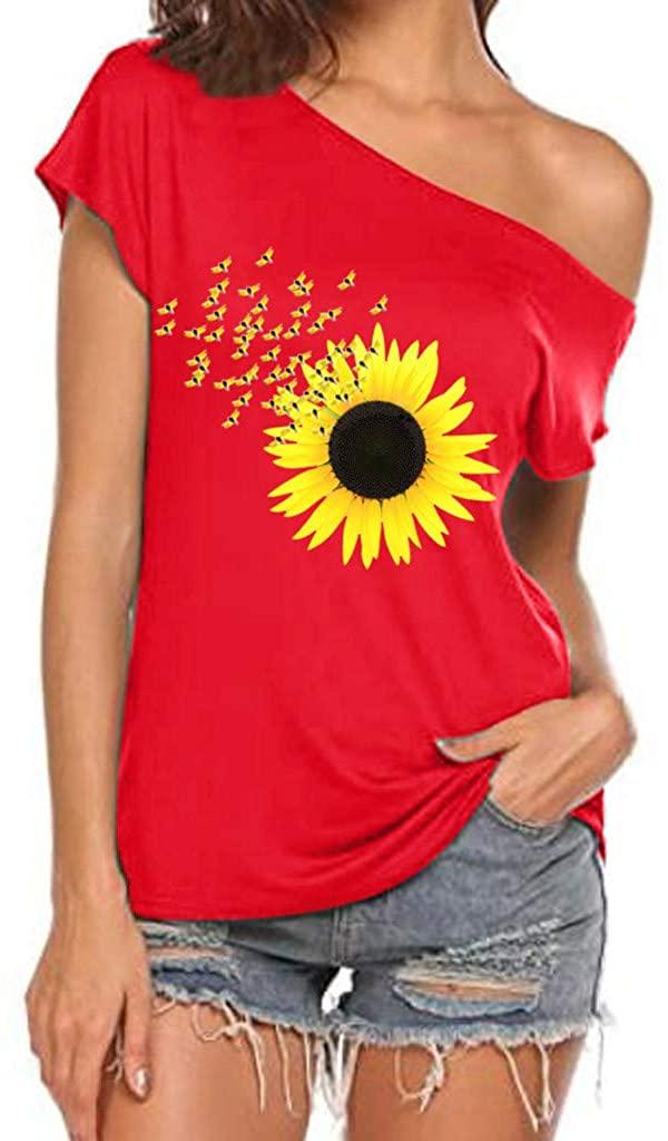 Off Shoulder Short Sleeve Tops for Women Casual Summer Trendy Sunflower Print T Shirt Shirts Tee