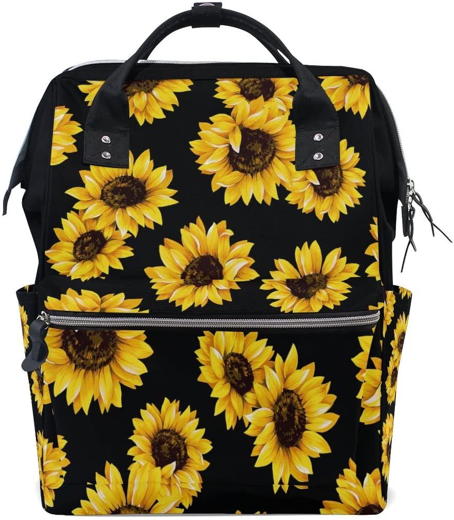 WOZO Watercolor Sunflower Floral Flower Black Multi-function Diaper Bags Backpack Travel Bag