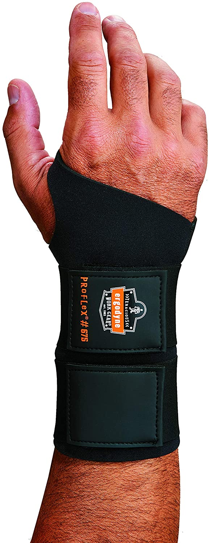 Ergodyne ProFlex 675 Ambidextrous Double-Strap Wrist Support, Black, Small