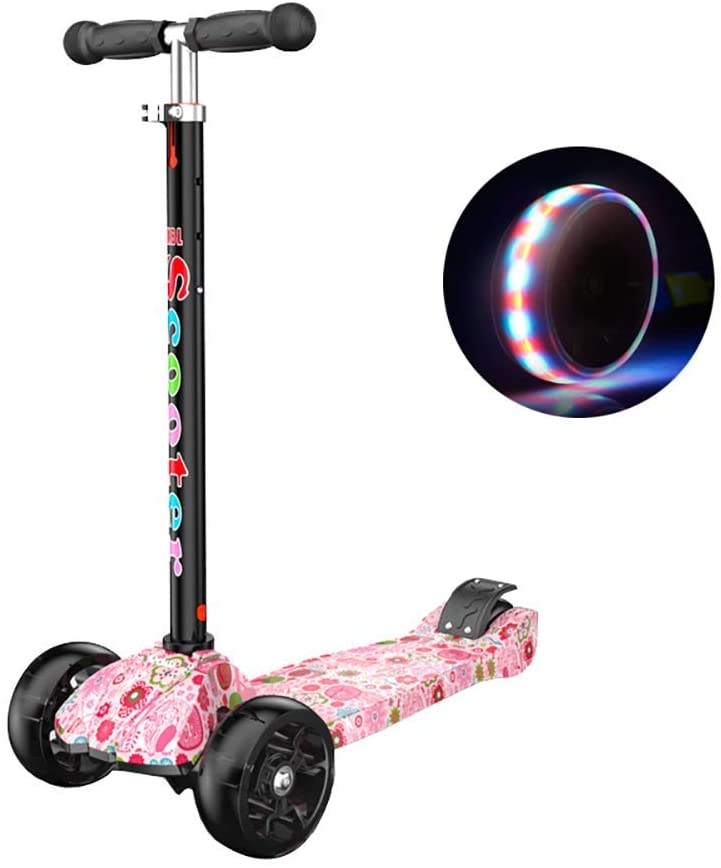 PLLP Outdoor Sports Scooter Kick,Shock Absorption with Adjustable Handlebar, Kids' Pink with Pu Flash Wheel, Age for 2-16Yr Girls, Max Load 50Kg Adult Child Toy Balance Car Mini