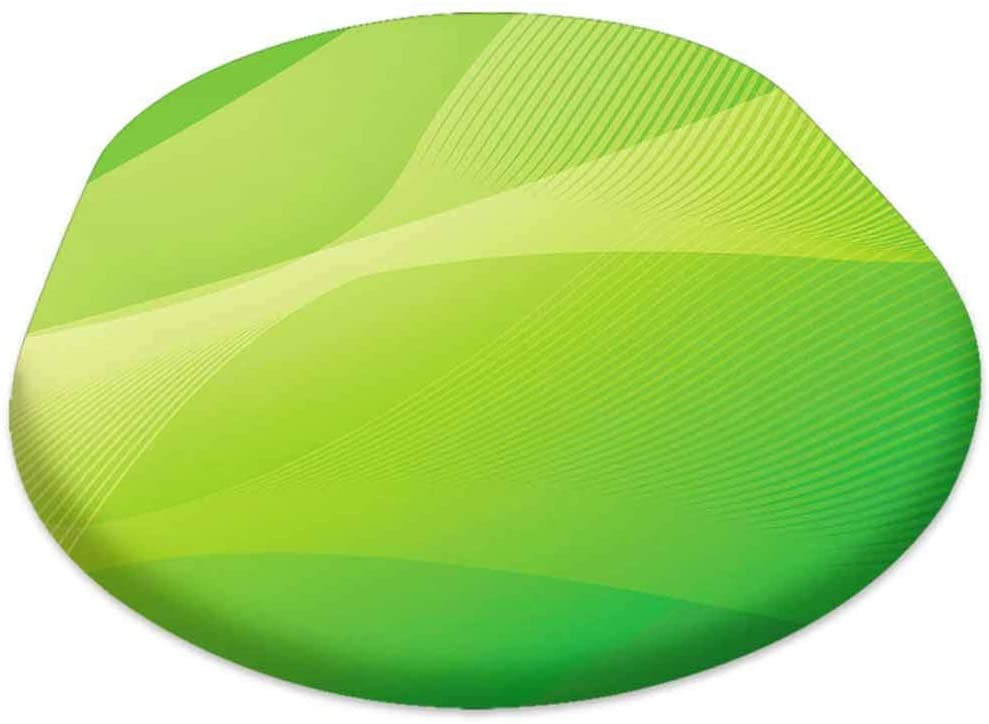 Oval Picnic Folding Table Cover, Green Abstract Template for Card or Banner Metal Background with Waves, for Spring/Summer/Party/Picnic, 60x120 inch
