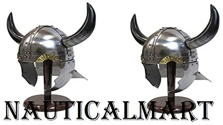 NAUTICALMART Horned Viking Helmet w/Side & Rear Guards