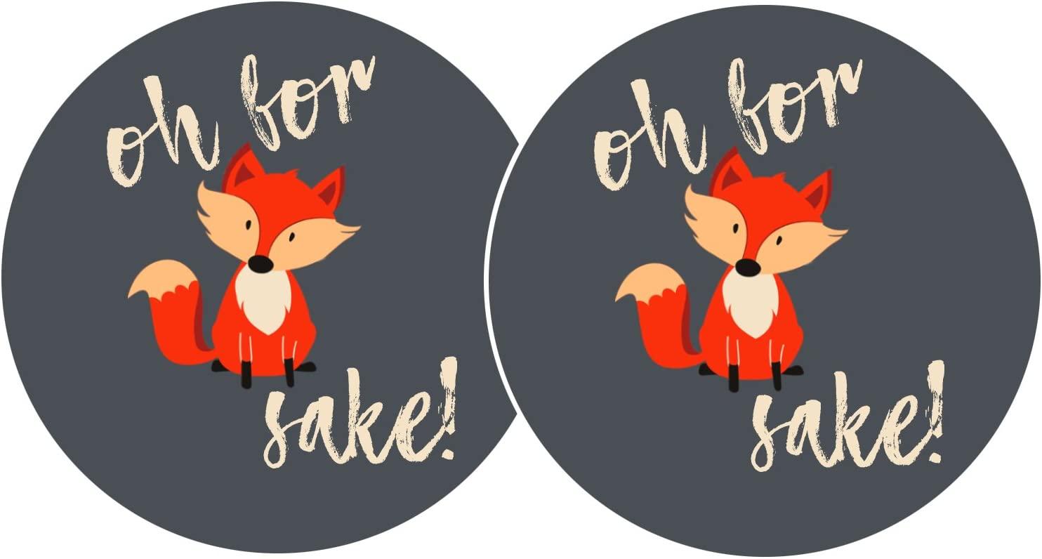 Pair of Oh For Fox Sake Car Coasters (2pcs) (3