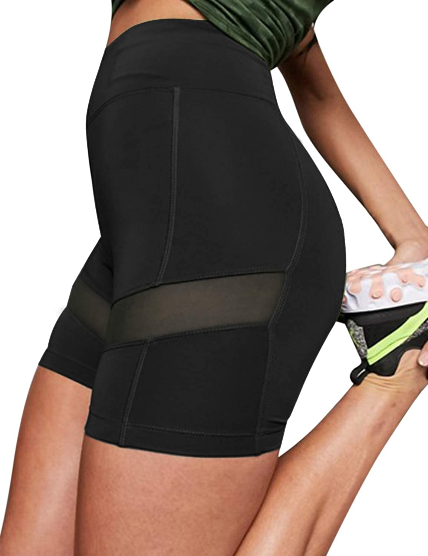 Blooming Jelly Women High Waist Shorts Mesh Skinny Yoga Pants Workout Leggings