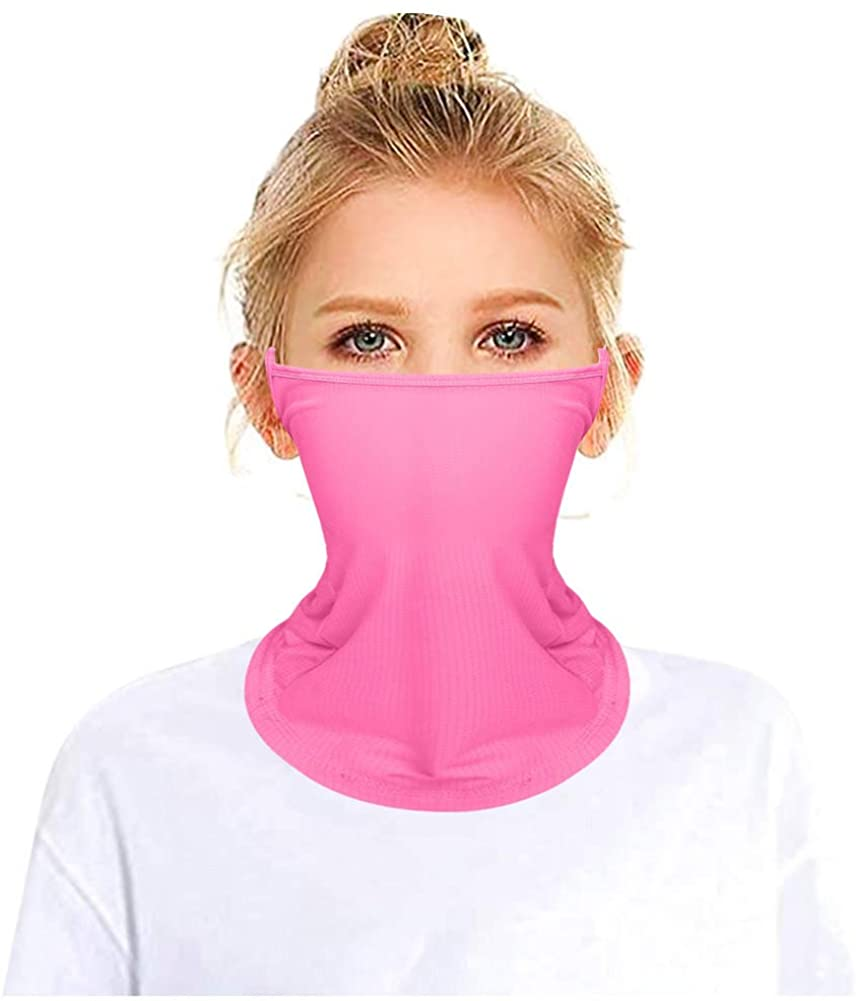Kids Dustproof Face Mask Stretchy Collar Ear Loops Neck Gaiter Bandana Balaclava Scarf for Boys Girls