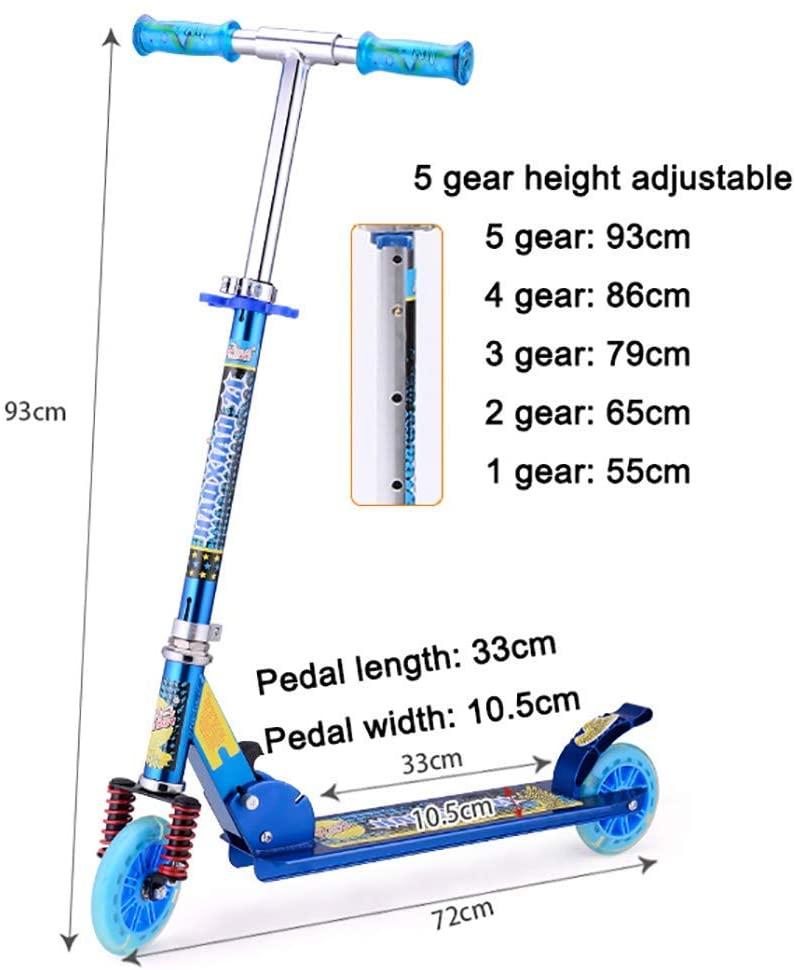 PLLP Child Foldable Scooter-Scooter Kick Folding Teens Kick, Adjustable Handlebar, Large Pu Wheel for 130-170Cm Men/Women, 100Kg Load,Blue