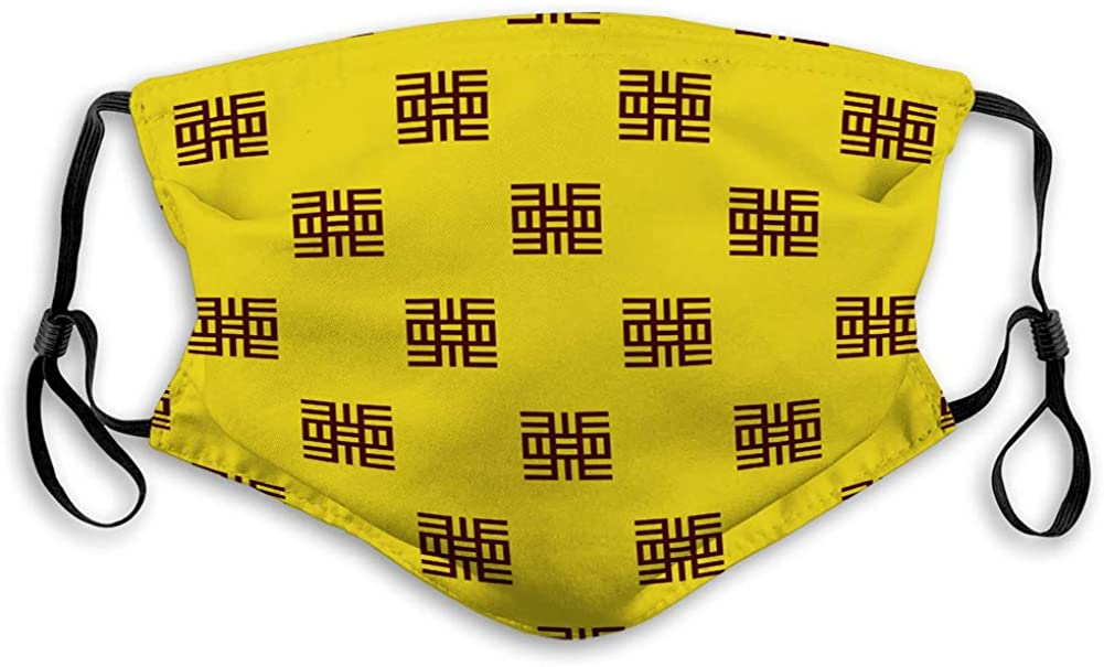 NoneBrand Outdoor Sport Half Shield Dust Face Shield adinkra west African Symbols Pattern Textile Elastic Cover