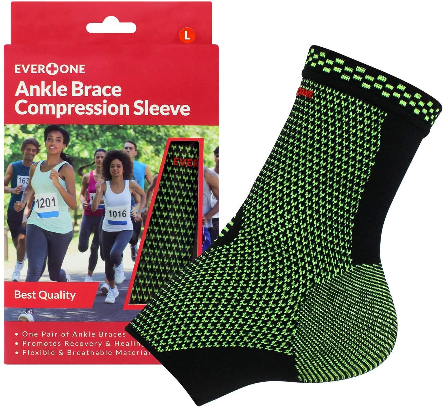 EverOne Ankle Brace Compression Sleeve Unisex, Large