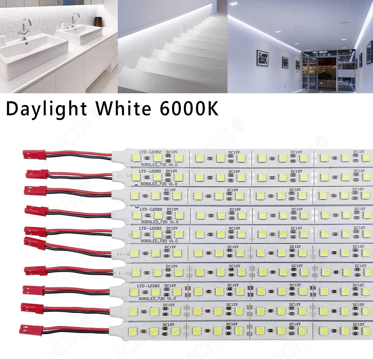 ICIH (Pack-10) Aluminum Rigid Hard LED Strip Light Daylight White 6000K SMD5050 12V LED 36LED/0.5M/7W Super Bright Led Bar with Import Stronger Stickiness Double Sided Adhesive Tape IH-LRS-5050DW