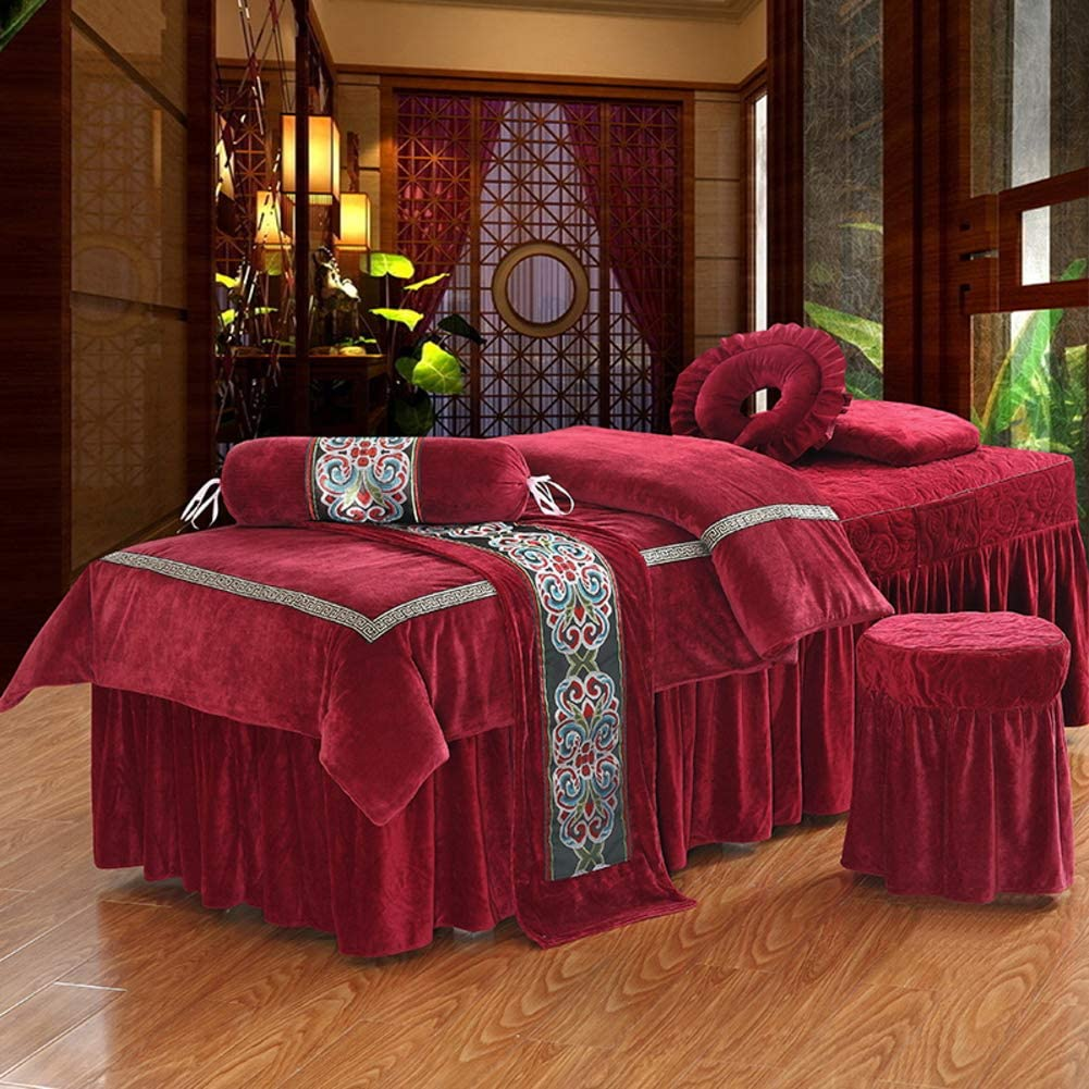 HJYYXL Thickened Crystal Velvet Massage Table Sheet Sets, Massage Table Skirt Bedspreads Beauty Salon Special spa Massage Bed Cover-H 70x185cm(28x73inch)