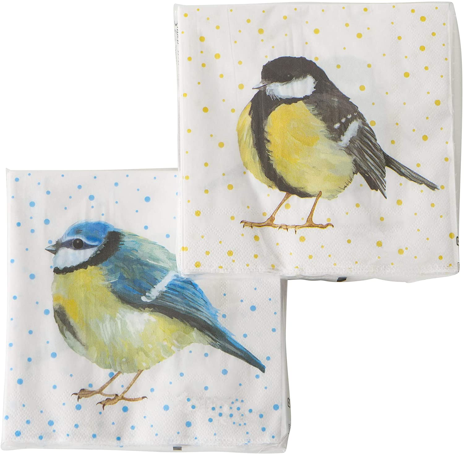 WHW Whole House Worlds Yellow Belly Chickadee Bird Napkins, 2 Packs of 20, 3 Ply Paper, Luncheon Size, 6.75 Inches
