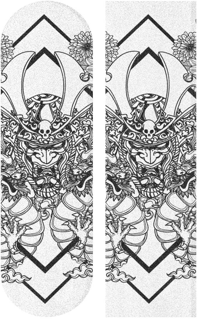 Skateboard Grip Tape Sheet 33 X 9 Inch - Hand Drawing Dargon Black White Sandpaper for Rollerboard Longboard Griptape Bubble Free Scooter Grip Tape