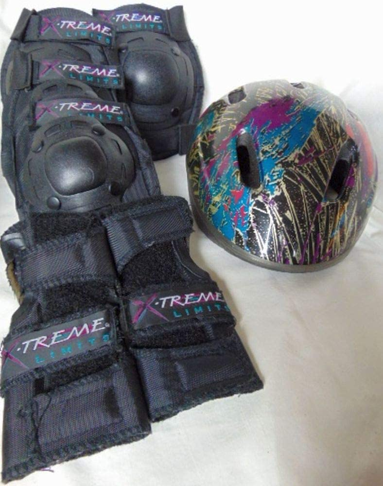 X-TREME LIMITS Bicyling Skating Protective Pads - Youth: Knee, Elbow, Wrist (Set) [Bell Helmet inclued]