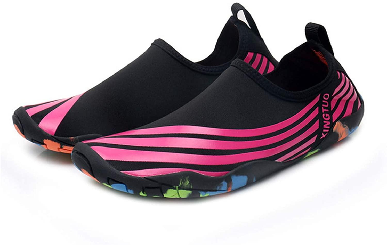 Bestgift Men's Women's Quick-Dry Non-Slip Flexible Beach Shoes Rose Stripes 36-37