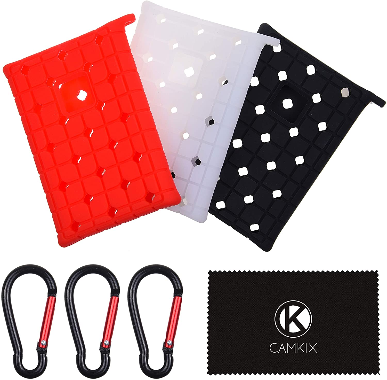 CamKix Silicone Sleeve Compatible with Samsung T7 - Set of 3 - Scratch and Shock Proof Case - Red, Black and White - Non-Slip Rubber Skin for Your External Drive - Ultra Thin Lightweight Travel Covers