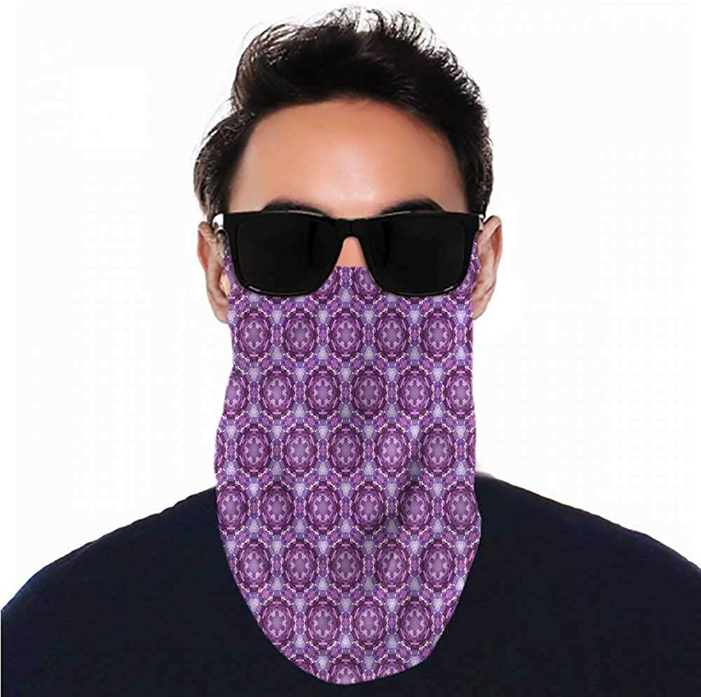 VIVIOTendance Face Bandana Mauve,Abstract Mosaic Style for Winter Multifunctional