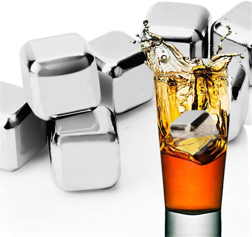 Stainless Steel Rocks Quick-frozen 304 Stainless Steel Storage Ice Wine Drink Whiskey Ice Grain With Ice Cube Box Reusable Ice Cubes (Color : Picture color, Size : One size)