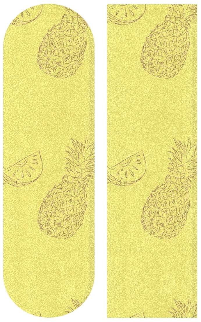 Skateboard Grip Tape Sheet 33 X 9 Inch - Sketch Pineapple Yellow Sandpaper for Rollerboard Longboard Griptape Bubble Free Longboard Grip Tape