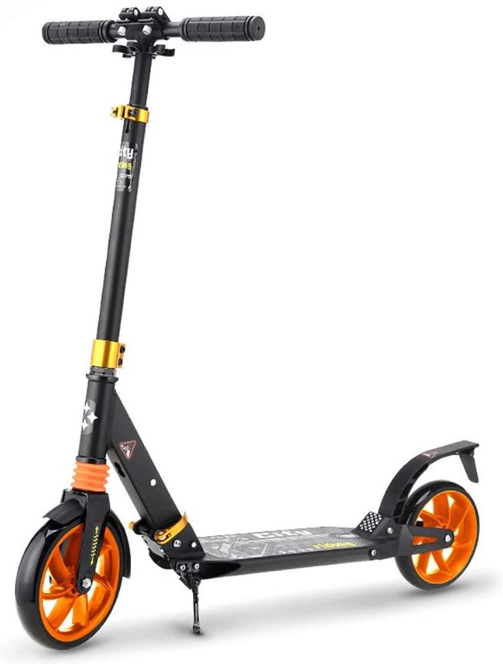 PLLP Outdoor Sports Scooter Kick,Folding for 130-185Cm Height, Pu Flashing Wheel Kick with Foot Brake, Shock Absorbing Kickboard, 100Kg Load Adult Child Toy Balance Car Mini,Black